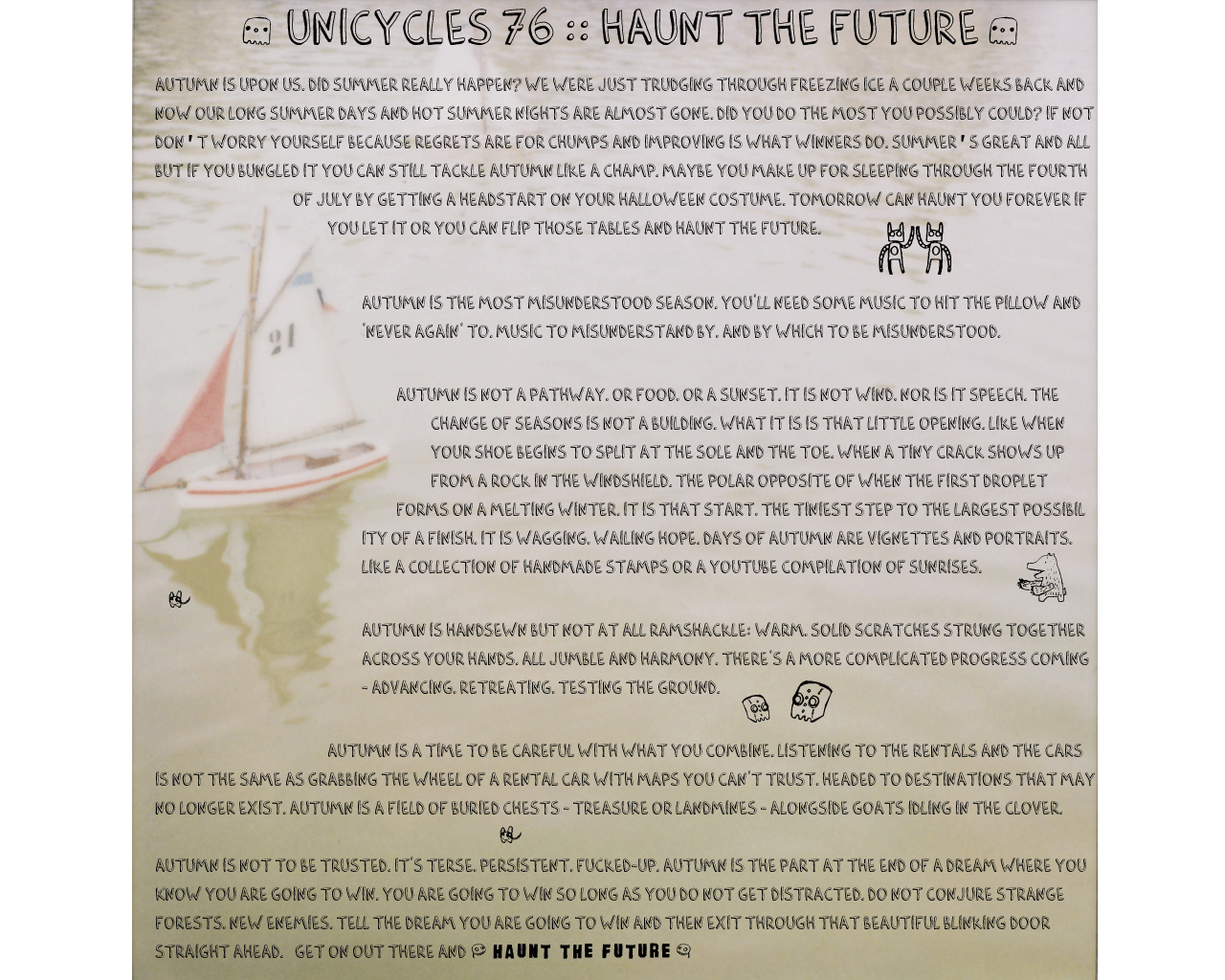 Unicycles 76 :: Haunt the future
